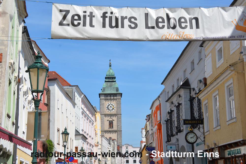 Radtour Passau-Wien - Stadtturm Enns
