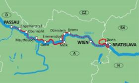 Danube river - Long tour to the Iron Gate - map