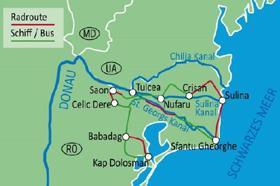 Karte Rad & Schiff im Donaudelta