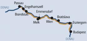 Passau-Wien-Budapest mit MS Arlene - Karte