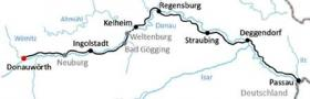 Cycle tour along the Bavarian Danube - map